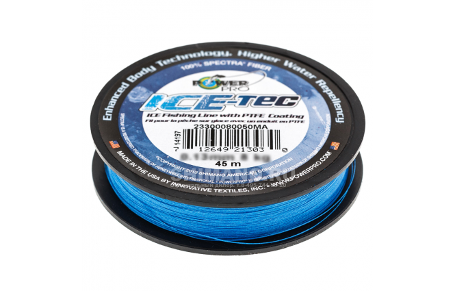 Зимний шнур POWER PRO ICE TEC 45м. 0.13мм. BLUE фото №2
